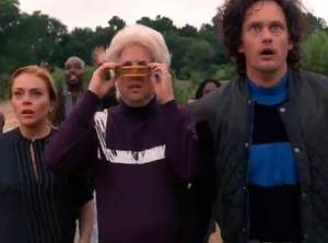 "Lindsay Lohan, Steve Little and Alexander Skarsgard in the final moments of ""Eastbound & Down"" (picture courtesy of HBO)"