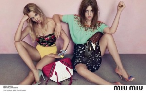 "Lea Seydoux and Adele Exarchopoulos, leading ladies of ""Blue Is The Warmest Color"", killing it in one of their Miu Miu ad campaign"