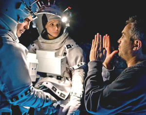 "Alfonso Cuaron directing George Clooney and Sandra Bullock for ""Gravity"""